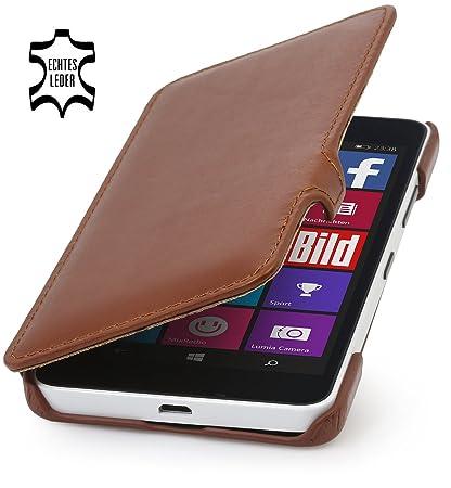 StilGut Book Type Case mit Clip, Hülle aus Leder für Microsoft Lumia 640/640 Dual SIM (nur kompatibel mit schwarzer und weiße
