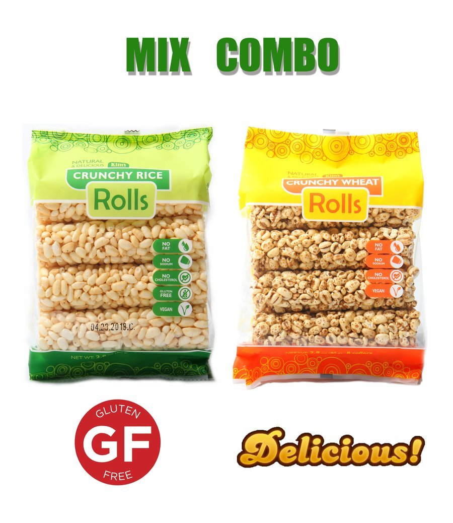 Kim's Crunhcy Rolls 12 Pack Combo (6 Rice and 6 Whole Wheat - 8 Rolls Per Bag) All Natural, Vegan, Cholesterol Free. Rice Rolls - Gluten Free