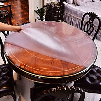 Table Ronde Nappe Waterproof Pvc Scrub Soft Verre Transparent Table De Salle A Manger Crystal Plate Hotel Table Table En Plastique Table De Table