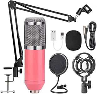 AUSELECT USB Streaming Podcast PC Microphone Pink, SUDOTACK professional 96KHZ/24Bit Studio Cardioid Condenser Mic Kit with sound card Boom Arm Shock Mount Pop Filter