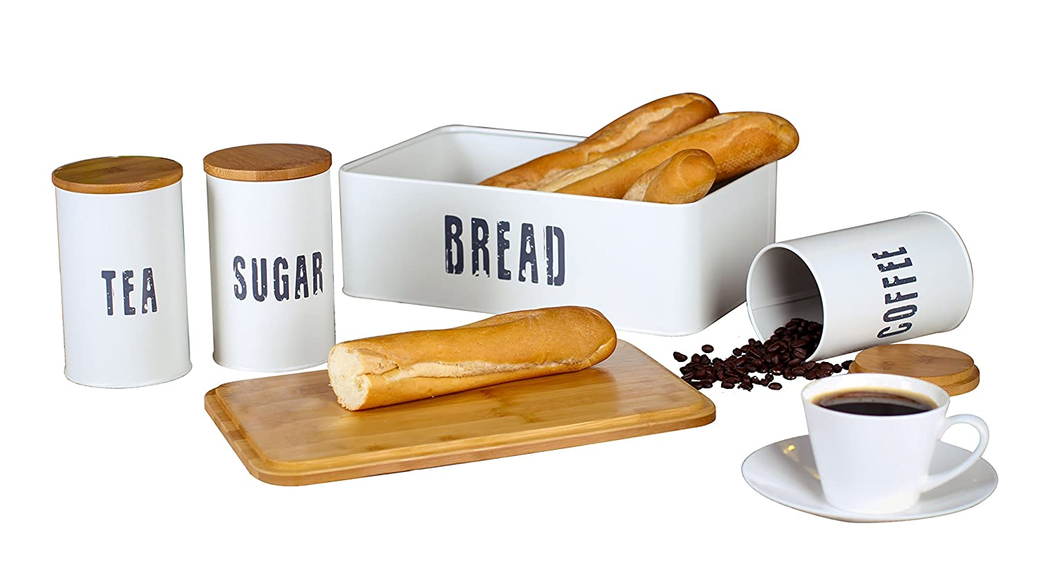 Novel Solutions Retro Bread Bin Plus Canister Combo with Bamboo Lid, Steel, Cream White, 33.5 x 21.5 x 12 cm iTREND WORLD DS-5334