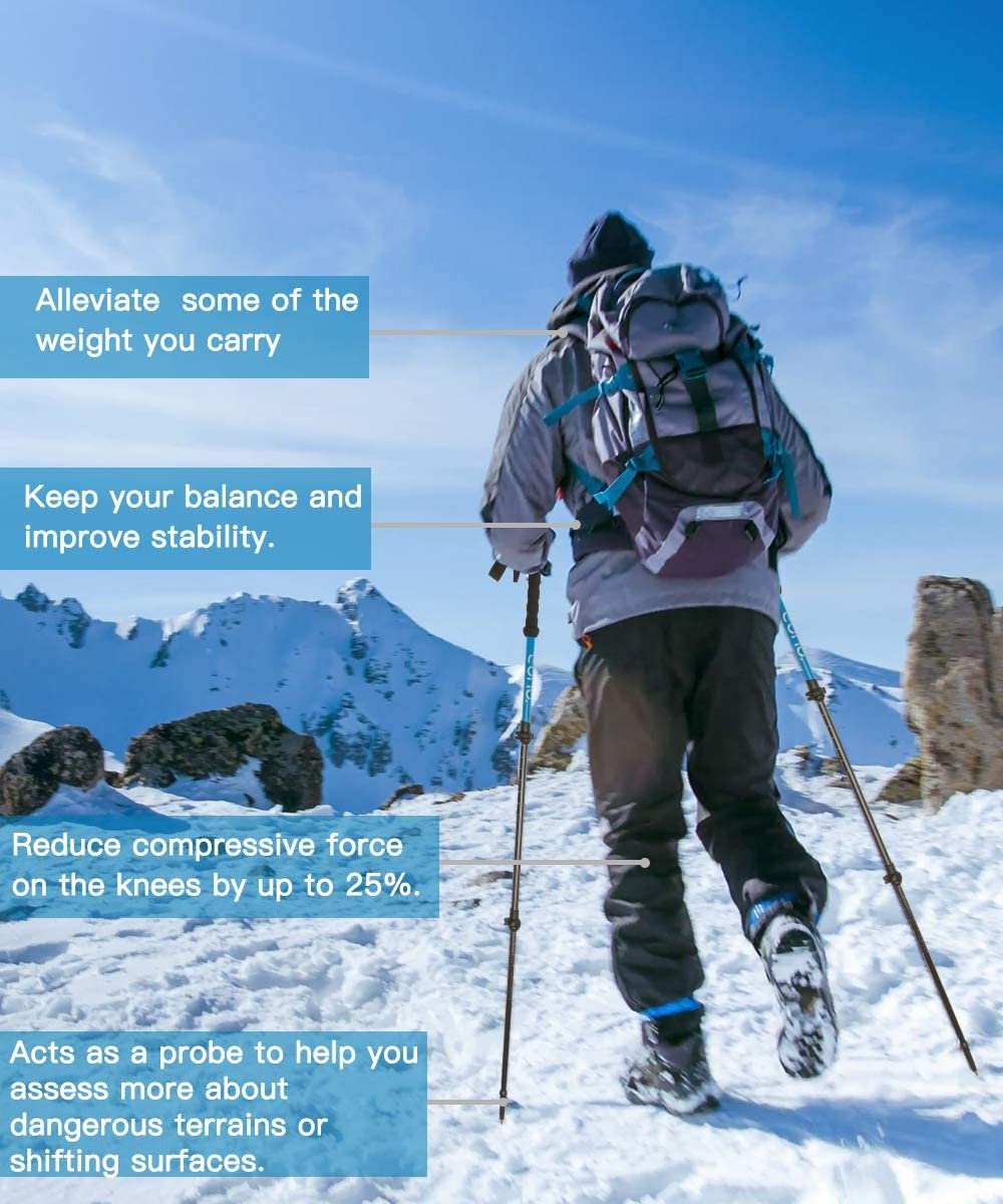 de marche et de course avec serrures rapides Accessoires 4 saisons // tout terrain absorbant les chocs l/égers B/âtons de trekking ajustables Eono Essentials B/âtons t/élescopiques en fibre de carbone