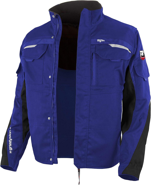 Farben Cordura-Schutzjacke mit vielen Taschen versch Outdoor Jacke mit Reflexbiesen Unisex Workwear f/ür Damen /& Herren Grizzlyskin Arbeitsjacke Iron