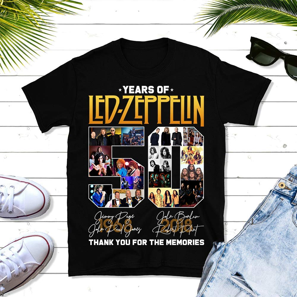 Tank Top Rock Gift Unisex T-shirt Sweater Premium T-shirt 50-Years-Of Led Zeppelin Thank-You-For-The-Memories 50th-Anniversary Big-Fans Concert-Tour Music Lovers Hoodie Long Sleeve