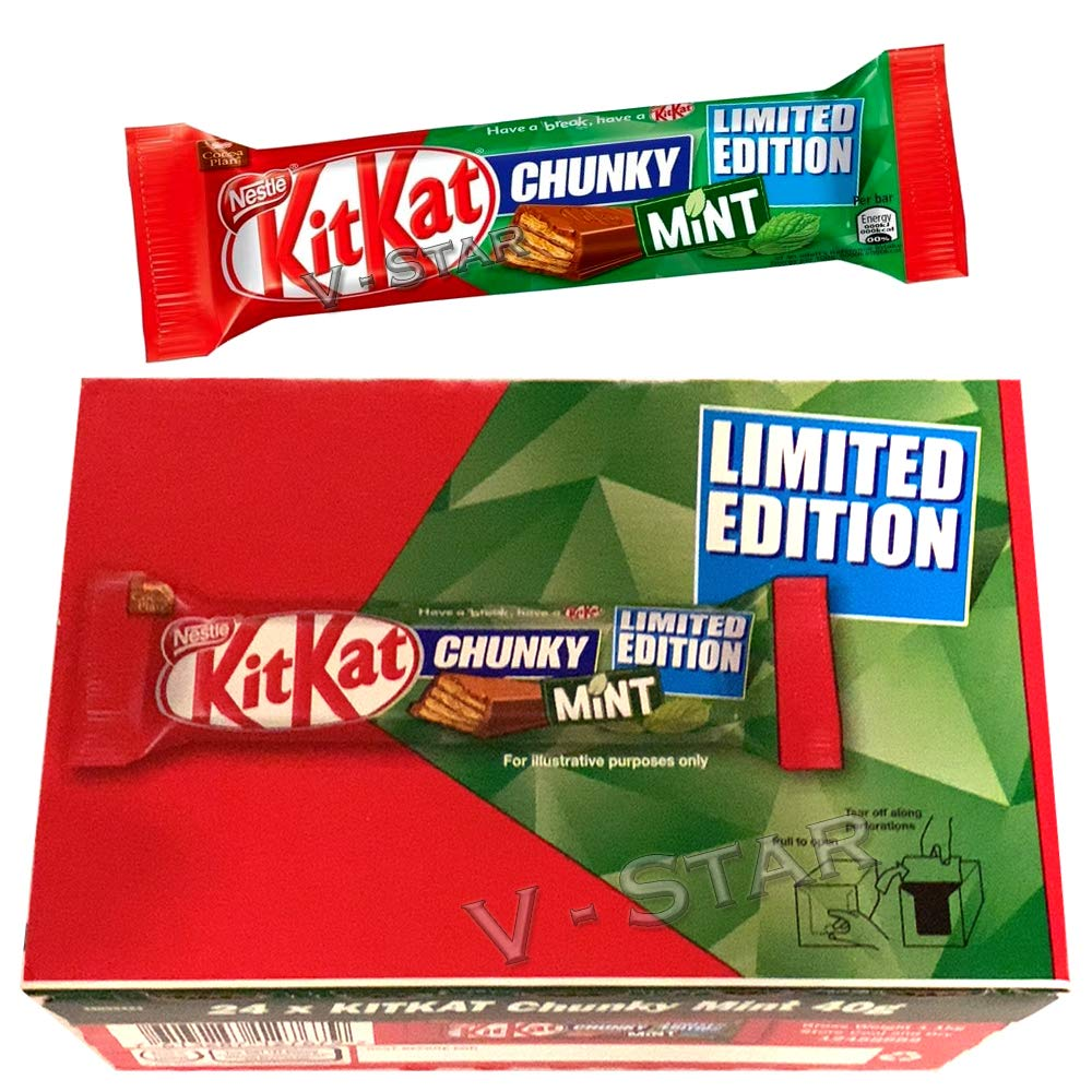 KIT KAT Chunky Mint Chocolate Limited Edition BAR 24 x 40g Full Box Original