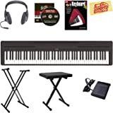 Yamaha P-45 Digital Piano - Black Bundle with Stand, Bench, Headphones, Instructional Book, Austin Bazaar Instructional DVD, Polishing Cloth