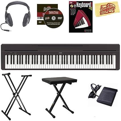 amazon com yamaha p 45 digital piano black bundle with adjustable rh amazon com Casio Keyboards Casio Ctk 541