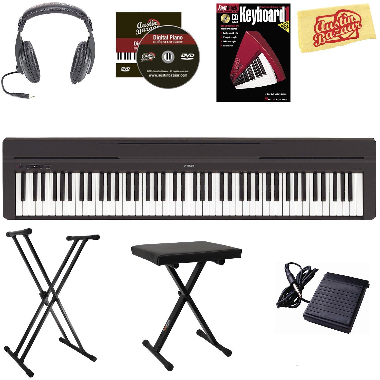 Yamaha P-45 Digital Piano - Black Bundle with Adjustable Stand, Bench, Headphones, Instructional Book, Austin Bazaar Instructional DVD, and Polishing Cloth