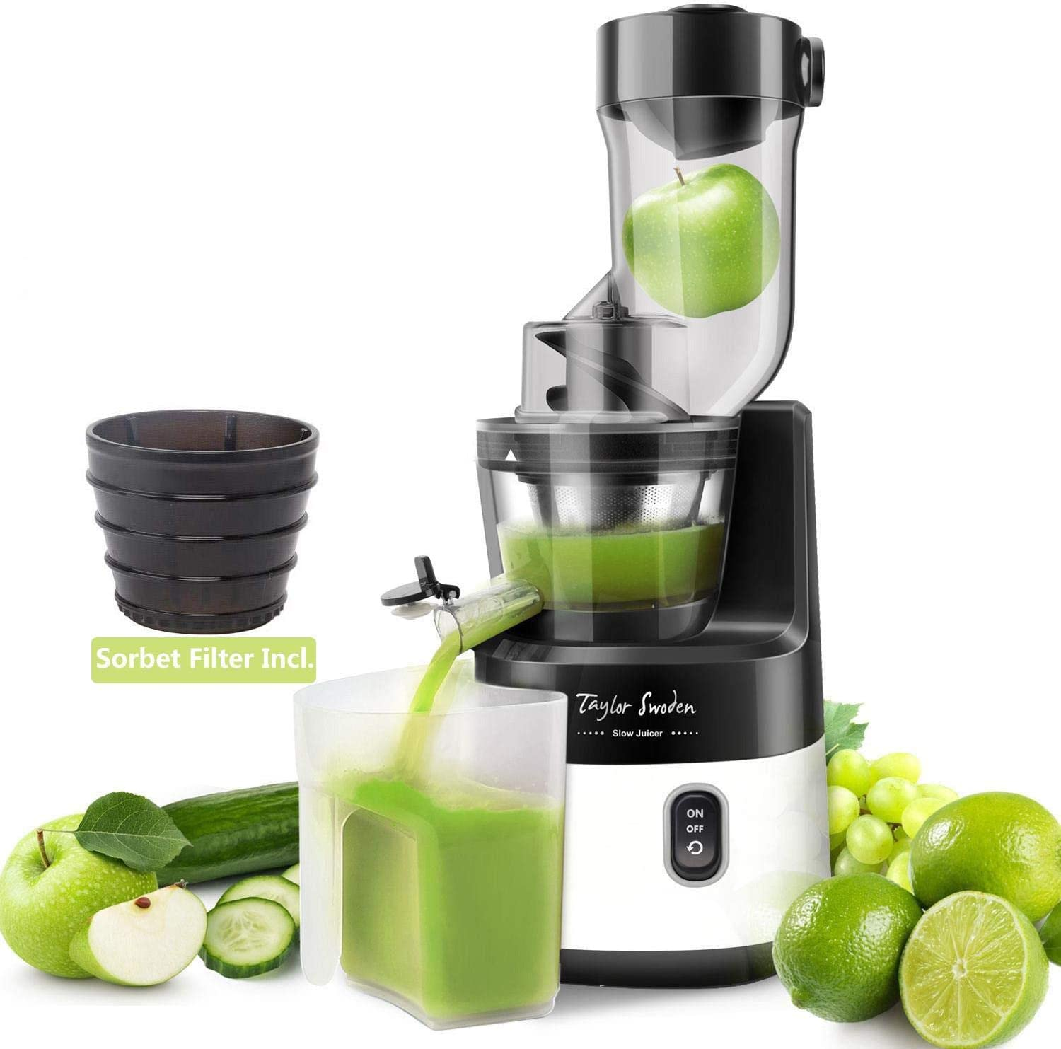 Juicer Machines, Taylor Swoden 200W Cold Press Juicer 3.4in Large Feed Chute Slow Masticating Juicer BPA-Free Juice Extractor with Quiet Motor, Easy to Clean, Recipes for Fruit, Vegetable and Sorbet