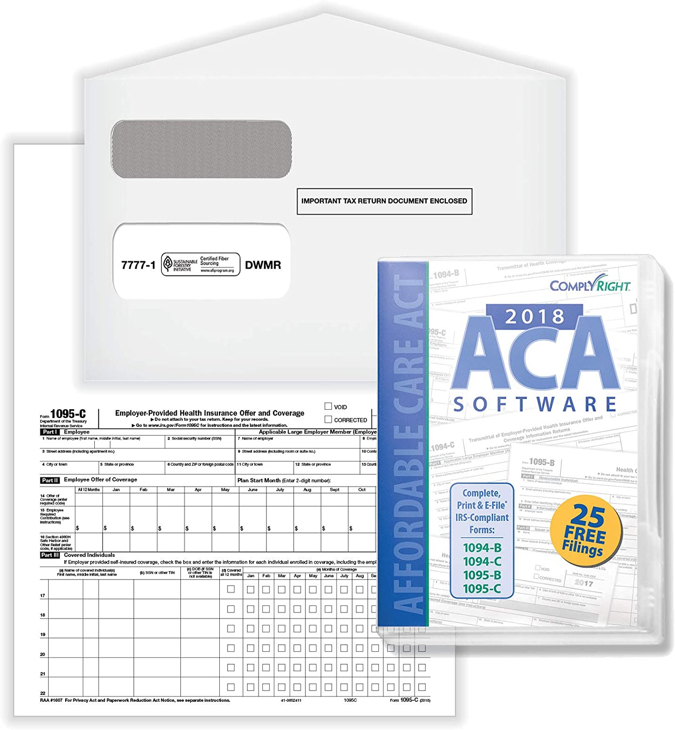 2018 ComplyRight Form 1095-C Health Coverage Forms and Envelopes with ACA Software, Pack of 100 Forms