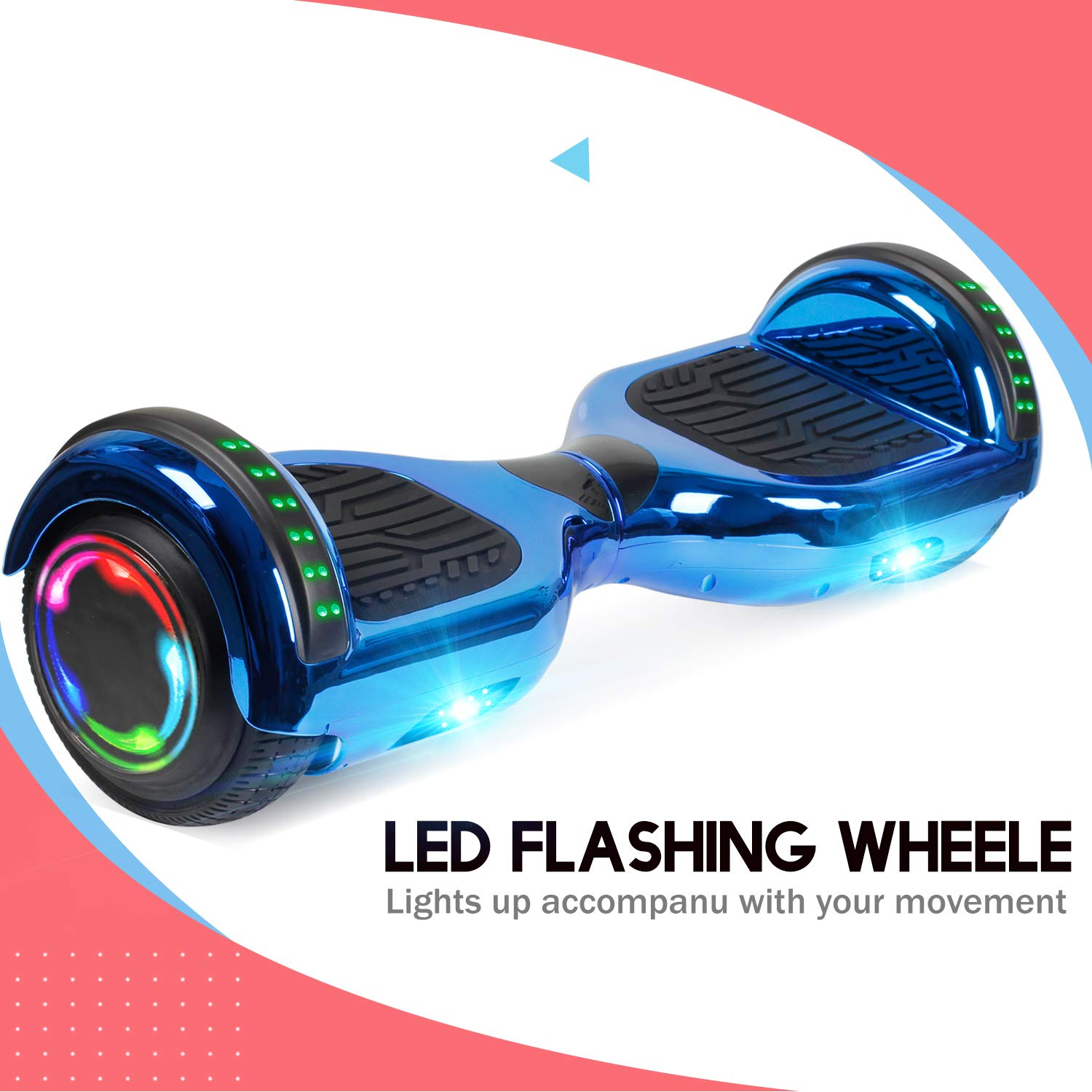 Benedi Hoverboard with Bluetooth Speaker Electric Self Balancing Scooter 6.5 with UL2272 Certified Wheels with Colorful Lights As Festival Gift