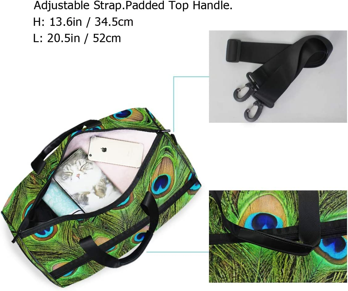 Peacock Green And Blue Plumage In Close Up Sports Gym Bag with Shoes Compartment Travel Duffel Bag for Men and Women