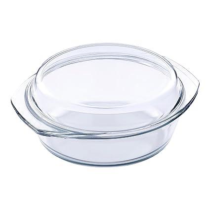 Kaiserhoff KH 20020004 cristal de borosilicato para horno redondo para el horno para verduras 2 Litros
