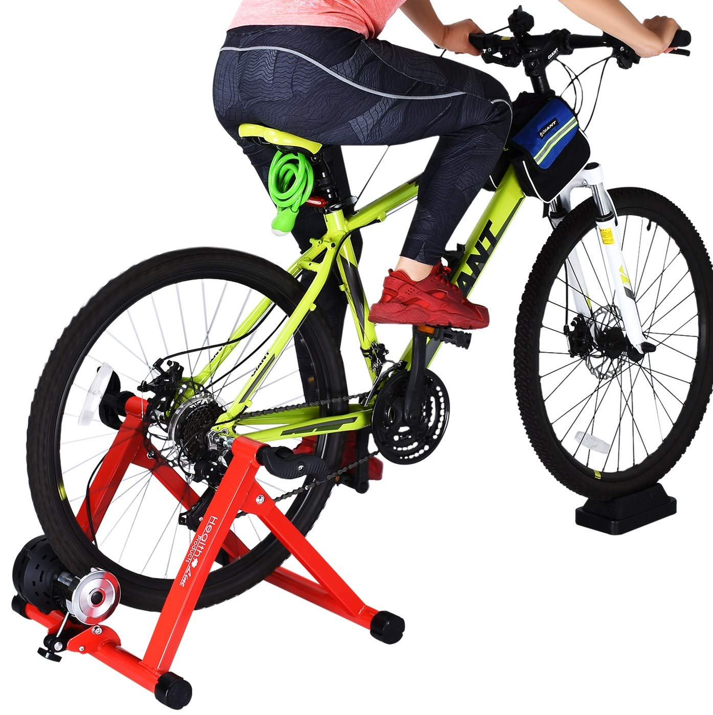 HEALTH LINE PRODUCT Indoor Cycle Trainer,Noise Reduction Super Quiet Bicycle Exercise Stand w Quick Release 8 Levels Resistance w Front Wheel Block