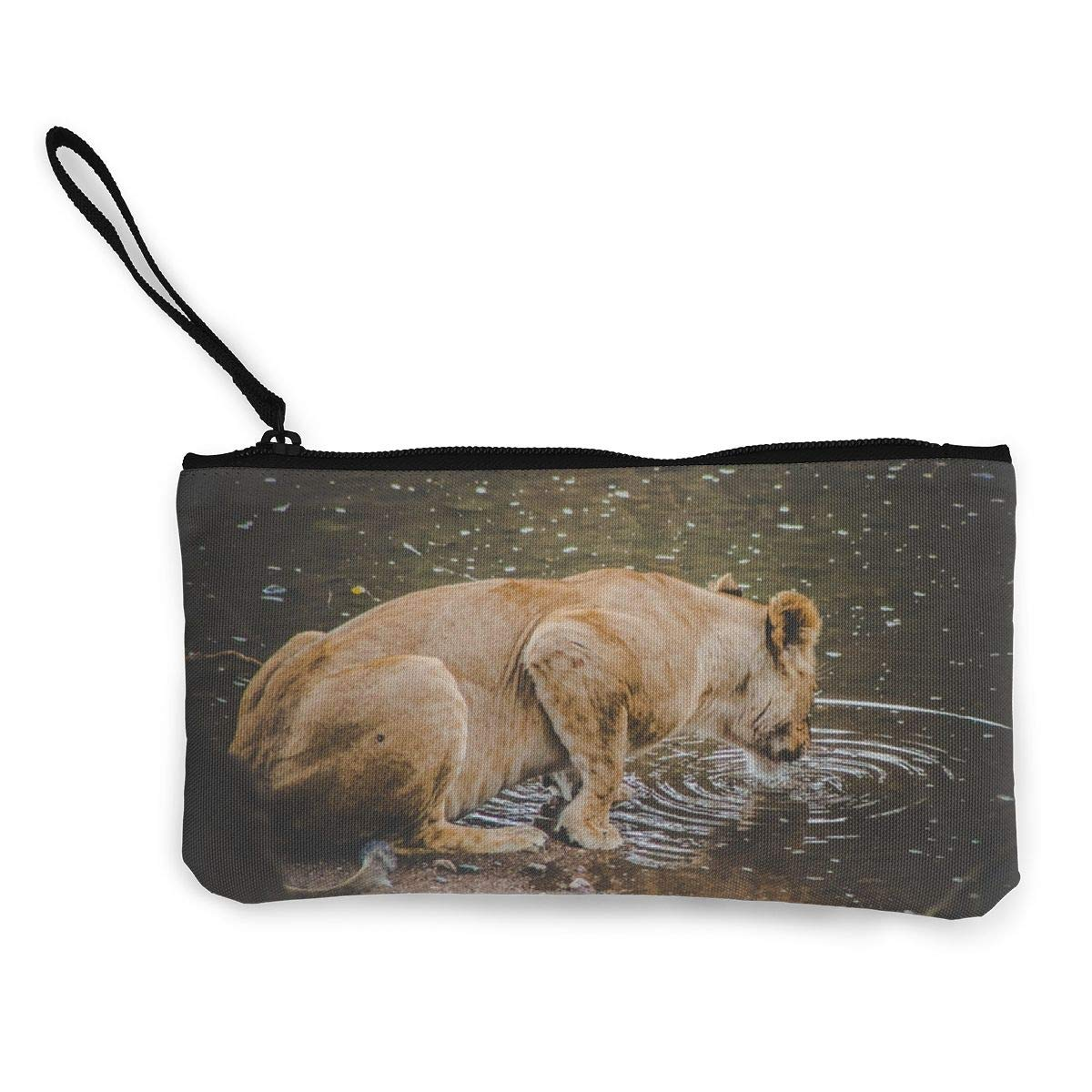 Yamini Lioness Lapping On Water Surface During Daytime Cute Looking Coin Purse Small and Exquisite Going Out to Carry Purse