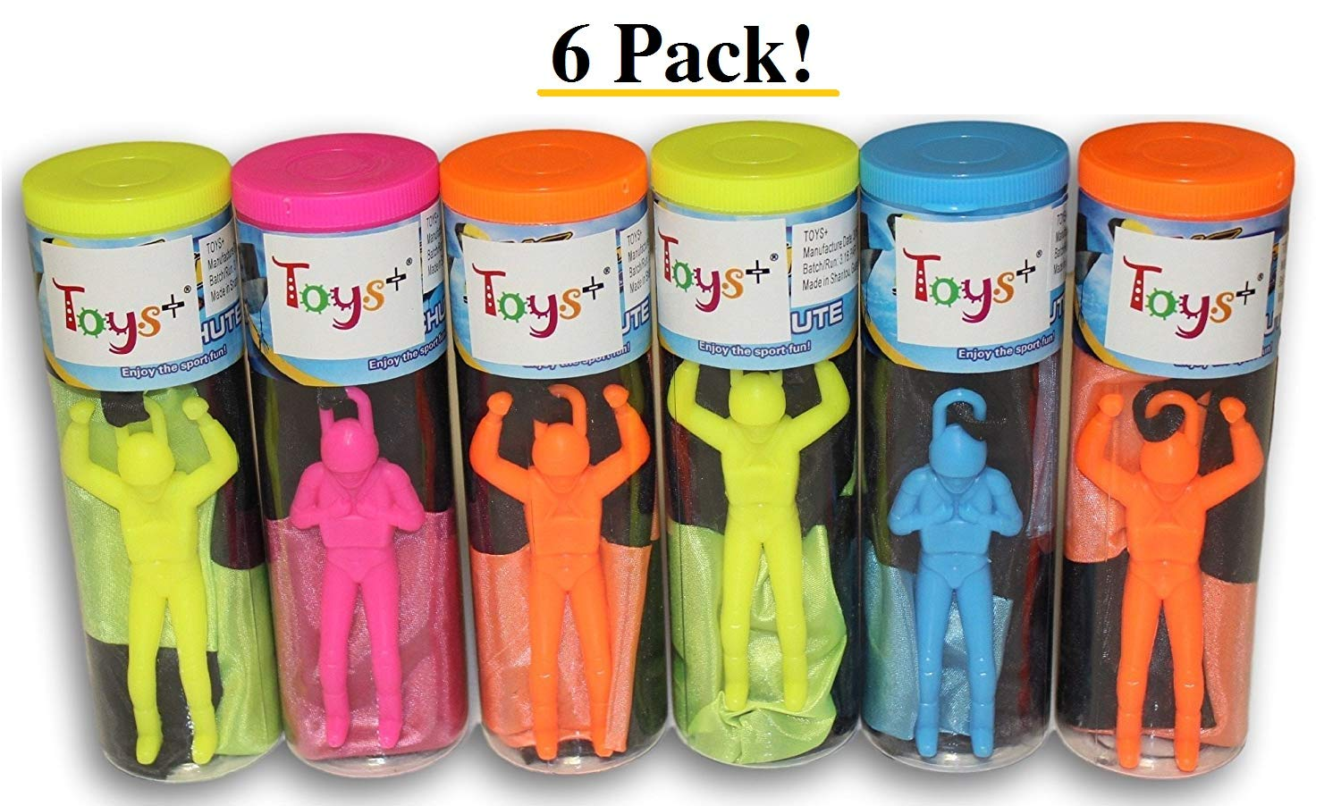 Toys+ Skydiver Parachute Men 6 Piece Set- Tangle Free (Colors and Styles May Vary)