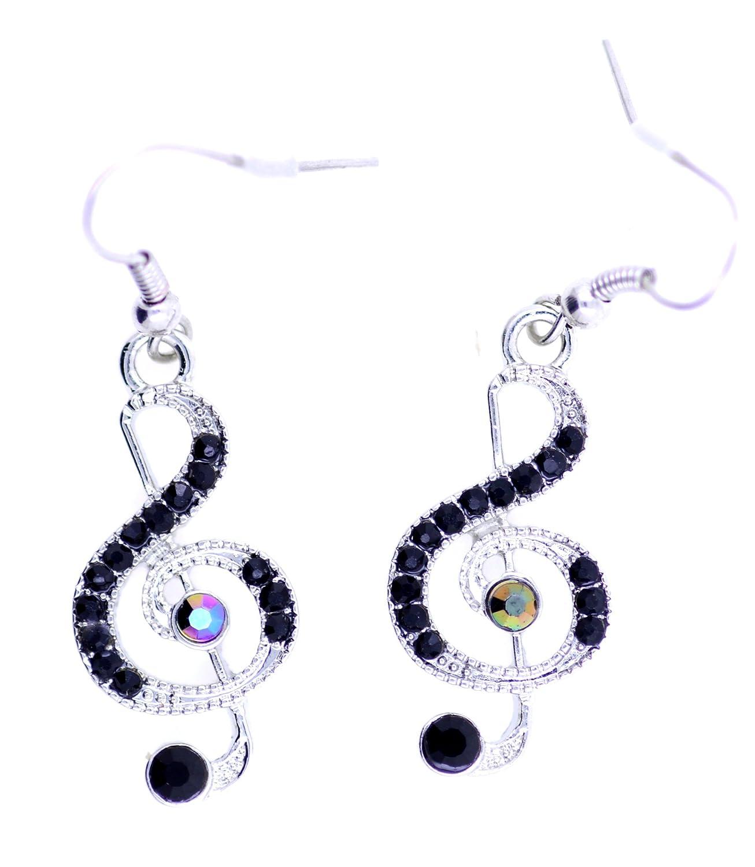 Lizzyoftheflowers Pendentif–Lizzyoftheflowers Pendentif. Style rétro Boucles d'oreilles en argent et noir Note de musique