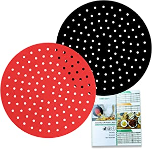 2Pack Silicone Air Fryer Liner, SIMOEFFI 8 Inch Round Reusable Air Fryer Mats, BPA Free, Air Fryer Accessories For Ninja/Cosori/Gowise/Instant Pot/Chefman/Dash