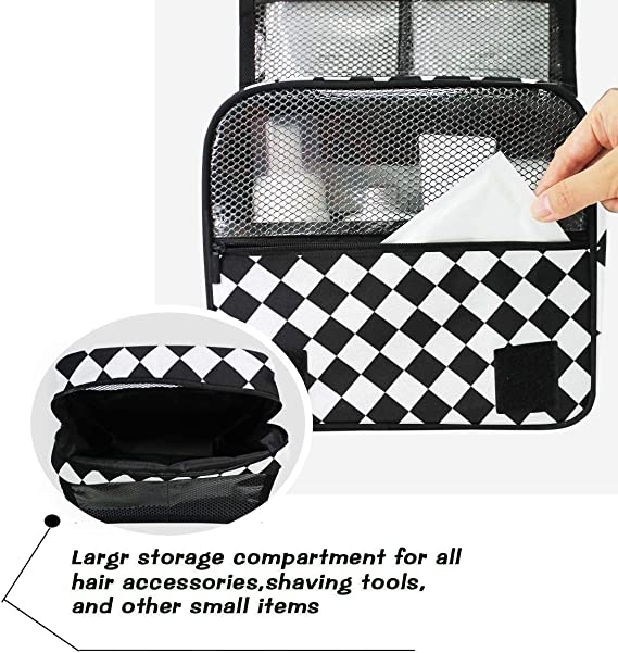 Neceser de maquillaje a cuadros, color blanco y negro: Amazon.es: Belleza