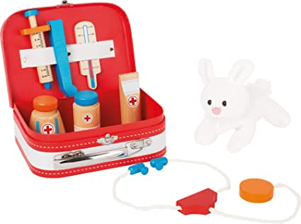 small foot 10864 Valise de vétérinaire en bois , avec accessoires (seringue, thermomètre, etc.) et lapin en peluche, à partir de 3 ans