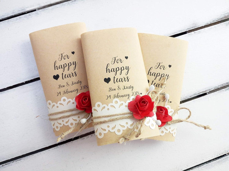 Happy Tears Tissue Pack Aqua Wedding Favors Custom Happy Tears Handkerchief Personalised Wedding Favors Wedding Tissue Pack Wedding decor