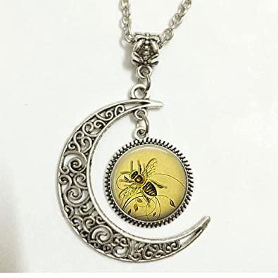 Amazon charm crescent moon honeybee pendant honey bee necklace charm crescent moon honeybee pendant honey bee necklace honey bee jewelry beekeeper gift apiarist gift aloadofball Gallery