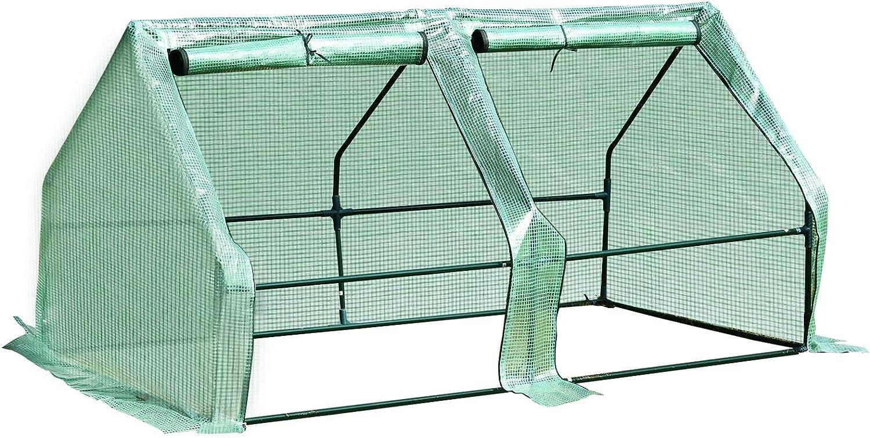 Outsunny Invernadero de Jardín Terraza Vivero para Huerto Plantas con 2 Puertas 180x90x90 cm Color Verde Tubo de Acero PE