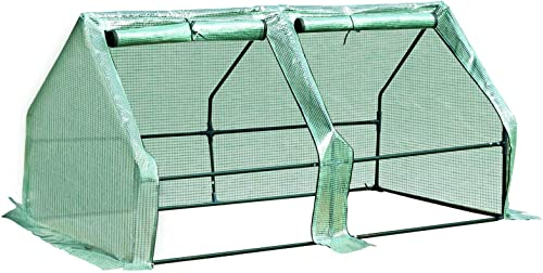 Outsunny Portable Mini Greenhouse with Large Zipper Doors, 5.9 L x 3 W x 3 H, Waterproof UV Protected Cover, Green