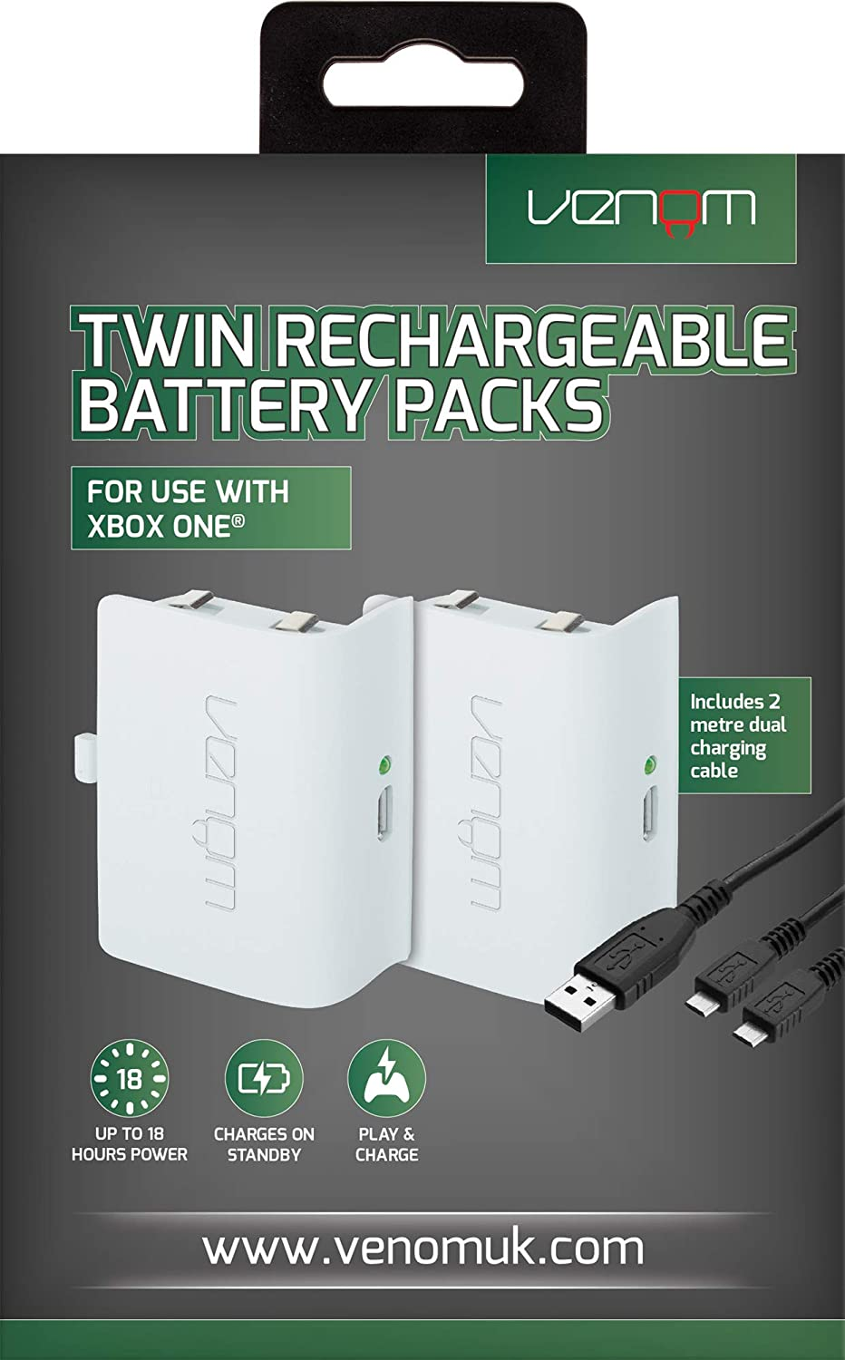 Venom - Twin Rechargable Battery Packs Con Cubiertas - Blanco ...