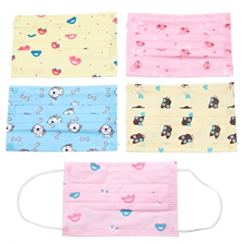 92451aa6f7 Image Unavailable. Image not available for. Color: Pack Of 50 Cute Disposable  Printed Earloop Dust Protective Face Mask for Kids Children