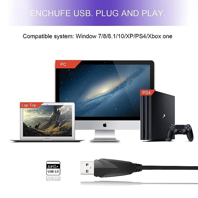 Tsing Micrófono Condensador USB Gaming para PC Portátiles ...
