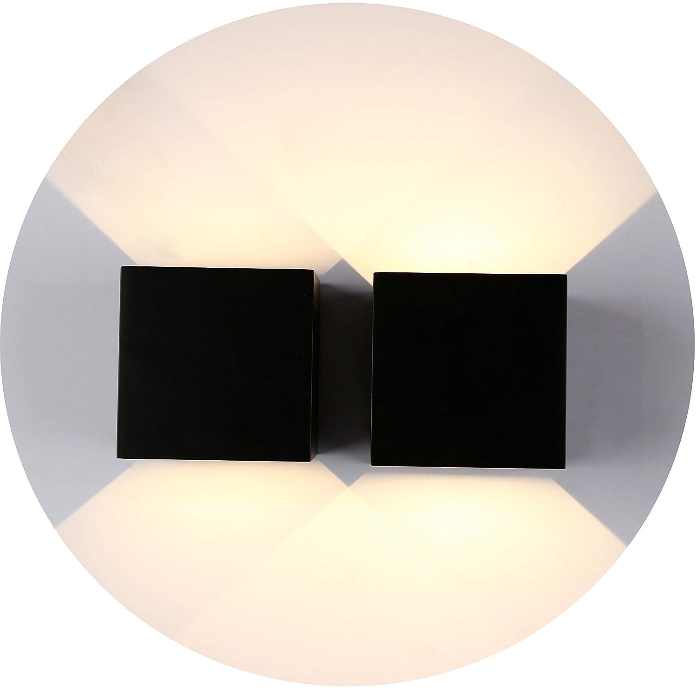 ZWeiãÿn Schwarz Topmo 2er Pack 7W LED Wandlampe mit einstellbar Abstrahlwinkel Wasserdichte IP65 Wandbeleuchtung 3000K Warmweiß Quadrat LED Außenwandleuchten (7w schwarz)