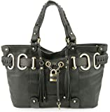 Bovari XL Padlock Shopper Bag Damen Handtasche - echt Leder- super soft limited edition - schwarz / black