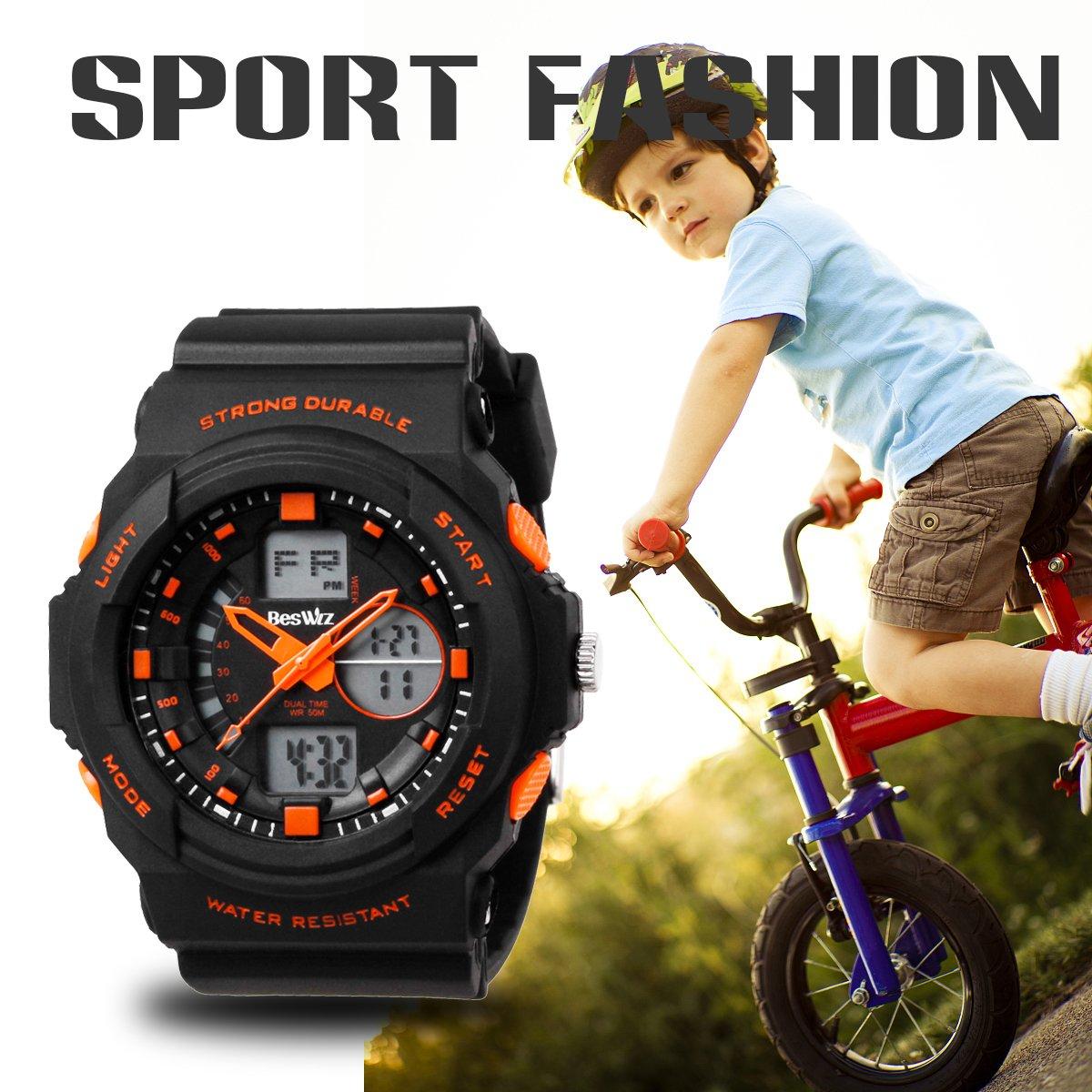 BesWLZ Multi Function Digital LED Quartz Watch Water Resistant Electronic Sport Watches Child Orange by BesWlz (Image #6)
