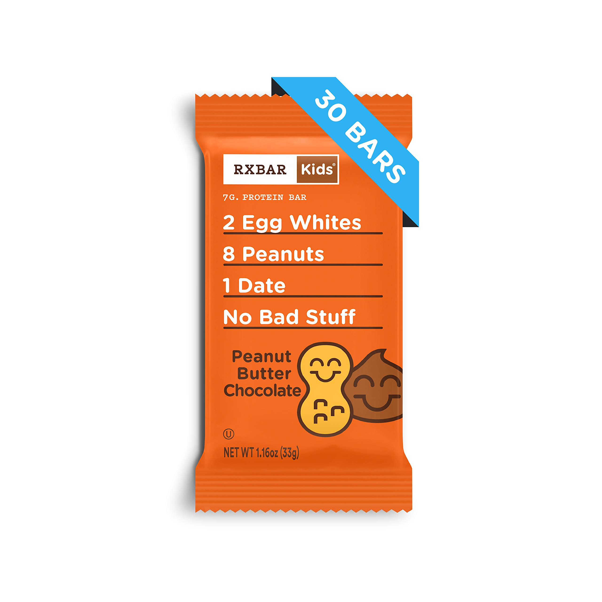 RXBAR Kids Real Food Protein Bar, Peanut Butter Chocolate, Gluten Free, 1.16oz Bars, 30 Count