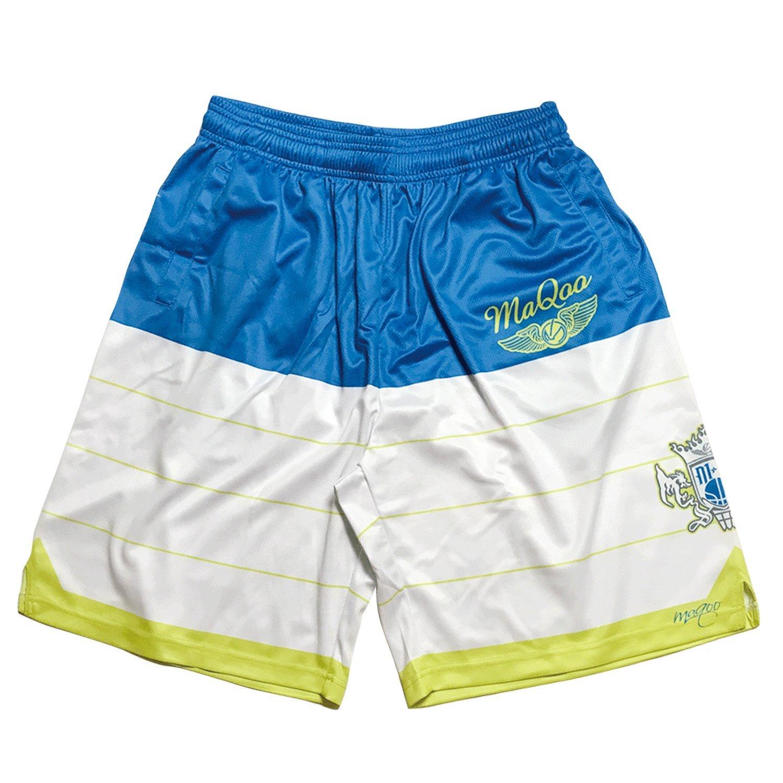 MaQoo Mens MQ Border Basketball Shorts Aqua Size X-Large