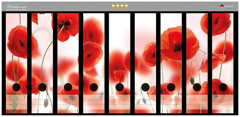 Rote Mohnblumenbl/üten in Premiumqualit/ät passend f/ür 8 schmale Ordnerr/ücken Gr/ö/ße 8 x 3,5 x 30 cm Wallario Ordnerr/ücken Sticker Leuchtende Mohnblumen