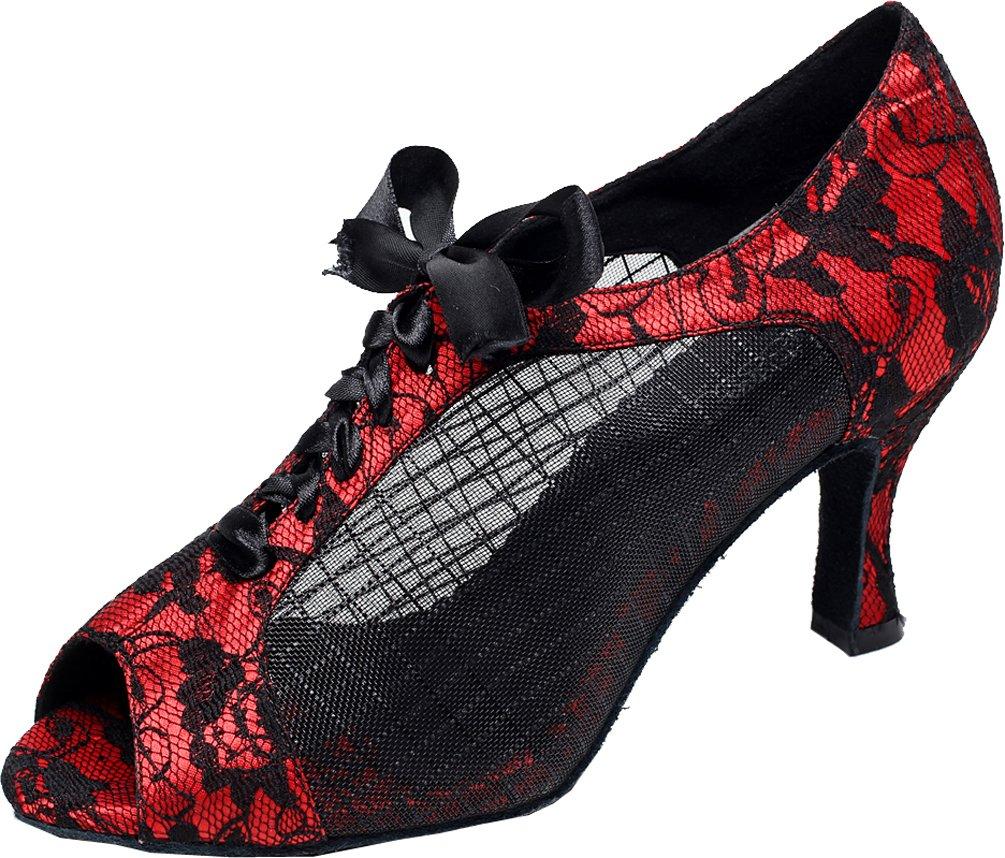 Abby Q-6206 Womens Latin Tango Cha-cha Ballroom Kitten Heel Peep-Toe Lace-up Mesh Dance-Shoes Red M US Size8.5 by Abby