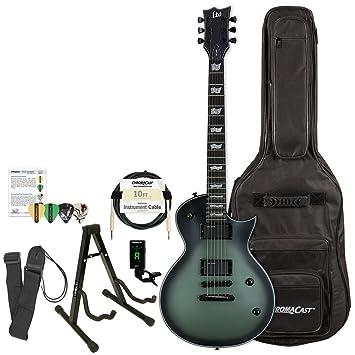 Esp Bill kelliher firma guitarra eléctrica, verde militar, color caoba, con ChromaCast Gig Bolsa de raso y accesorios: Amazon.es: Instrumentos musicales