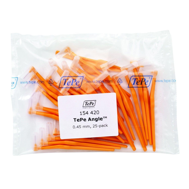 TePe Interdental Brush Angle - Orange 0.45mm 25 Pack by TePe Munhygienprodukter AB, Sweden