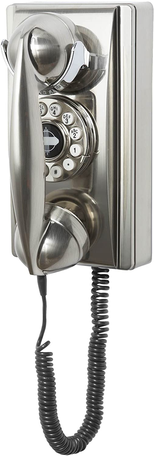 Crosley CR55-BC Wall Phone with Push Button Technology, Chrome
