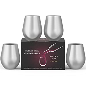 Stainless Steel Wine Stemless Glasses Set of 4, 18 oz | metal wine glasses 4 pack | Unbreakable, Dishwasher Safe, BPA Free, Great for Indoor & Outdoor Use | Steel Wine Cups - Perfect Gift