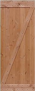 LUBANN 32 in. x 84 in. Rustic Z-Brace Hardwood Barn Door Unfinished Knotty Alder Solid Wood Barn Door Slab