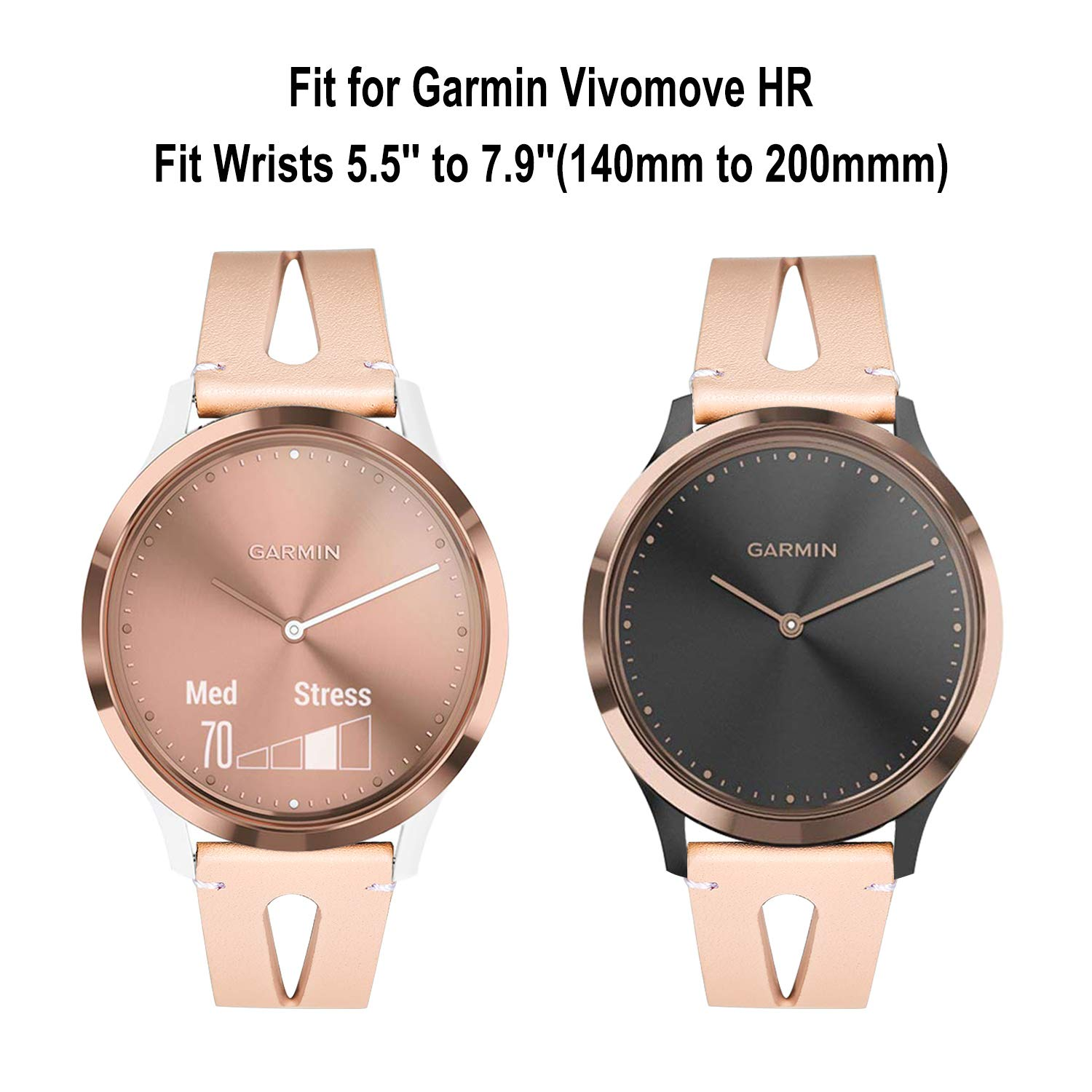 for Vivomove HR Women Watchband, TRUMiRR Genuine Leather Watch Band Quick Release Strap Rose Gold Stainless Steel Clasp Bracelet for Garmin Vivomove ...