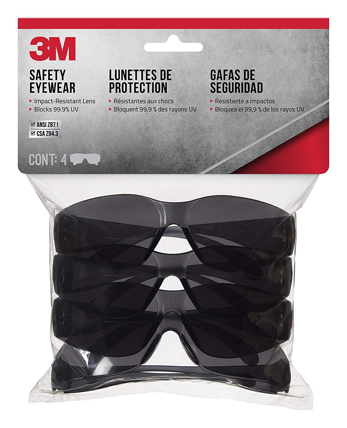 3M 90835 Outdoor Safety Eyewear, Black Frame, Gray Scratch Resistant Lenses (4 Pack) (3) by 3M Safety