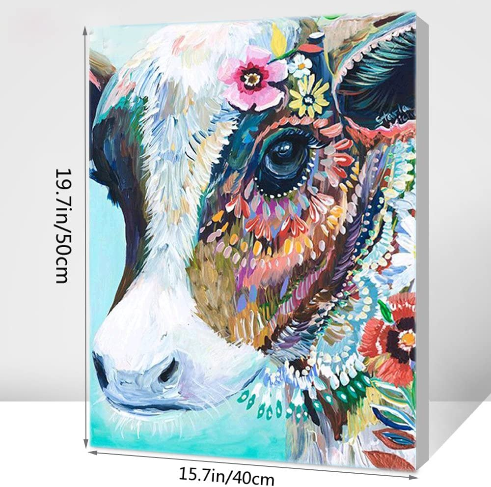 Diy Oil Painting Paint By Number Kits Diy Canvas Painting By Numbers Acrylic Oil Painting For Adults Kids Arts Craft For Home Wall Decor Colourful Cow
