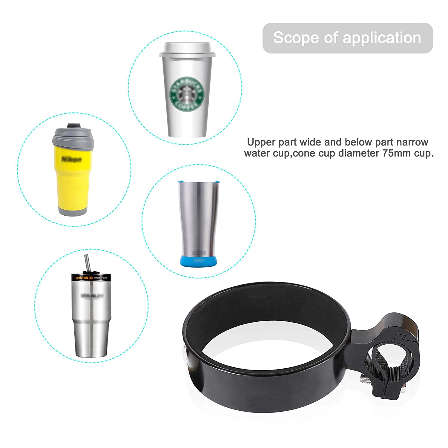 Atuka Handlebar Drink Holder Cup Bottle Holder Water Bottle Cage Aluminum Alloy Coffe Cup Holder For Xiaomi M365 Electric Scooter,Comfort Bikes,Mountain Bikes