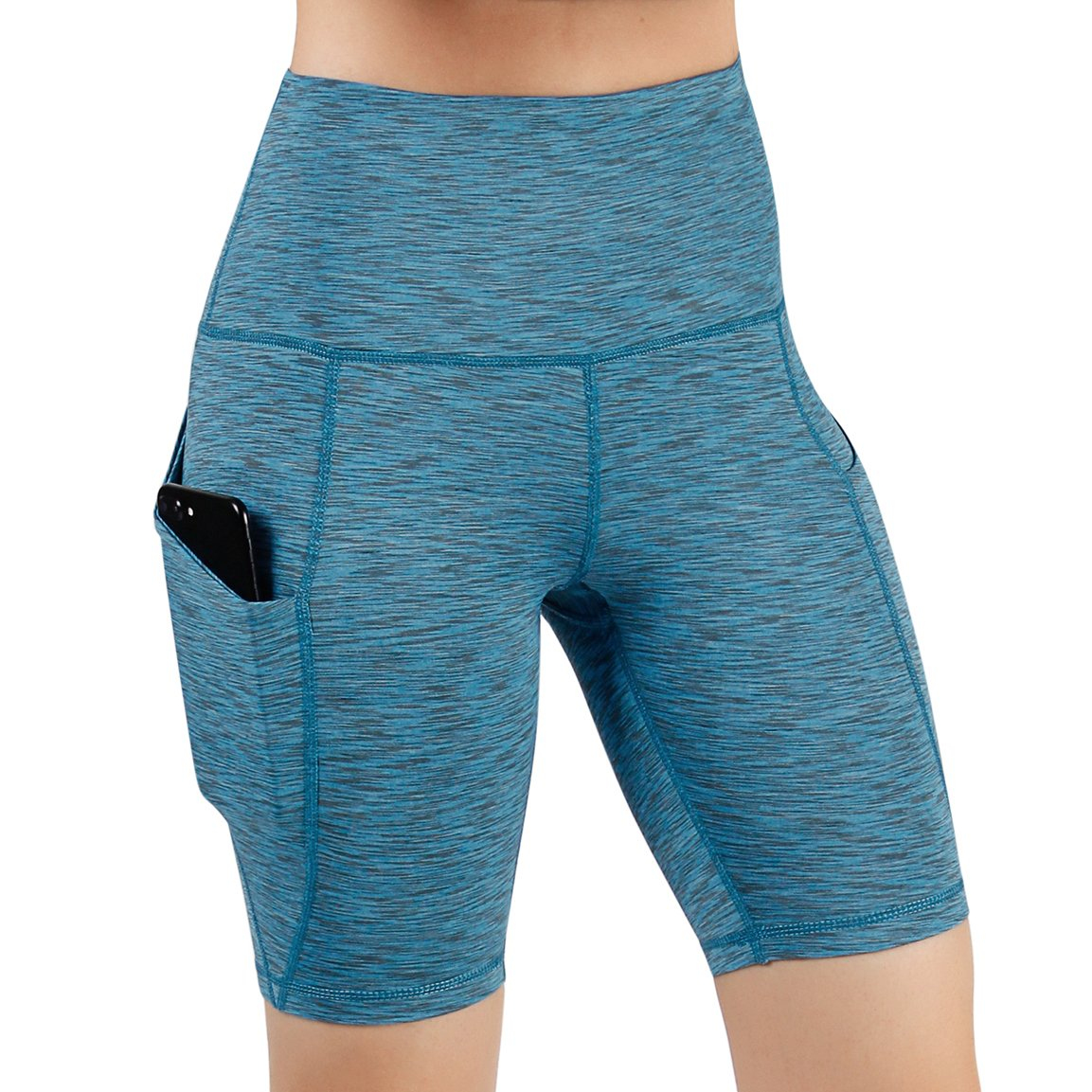 ODODOS High Waist Out Pocket Yoga Short Tummy Control Workout Running Athletic Non See-Through Yoga Shorts,SpaceDyeBlue,XX-Large by ODODOS