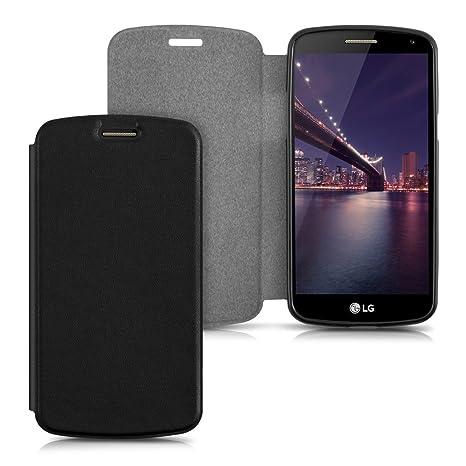 kwmobile Funda para LG K5 - Carcasa para móvil de [Cuero sintético] - Case [Plegable] en [Negro]