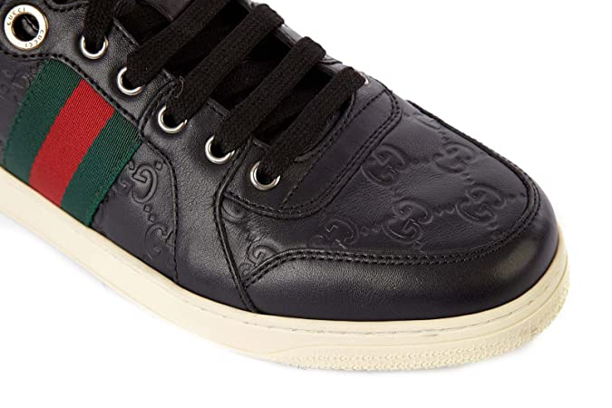 02839103c Gucci men's shoes high top leather trainers sneakers black UK size 9 221825  A9L90 1072: Amazon.co.uk: Shoes & Bags